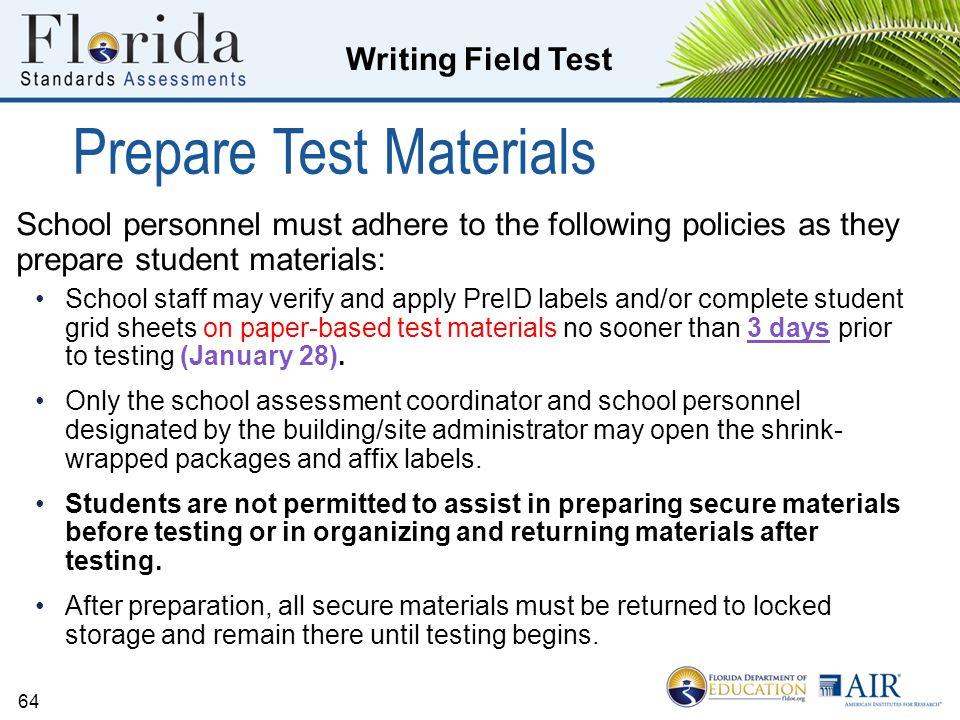 Prepare Test Materials