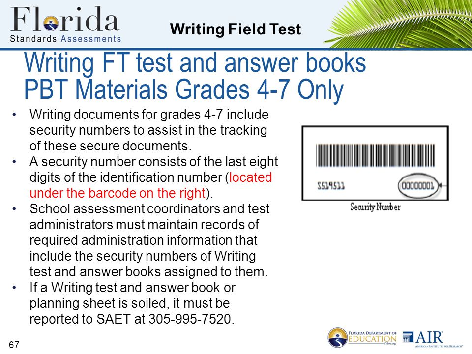 Writing FT test and answer books PBT Materials Grades 4-7 Only