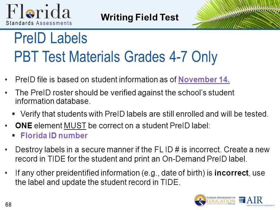 PreID Labels PBT Test Materials Grades 4-7 Only