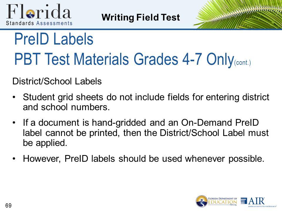 PreID Labels PBT Test Materials Grades 4-7 Only(cont.)