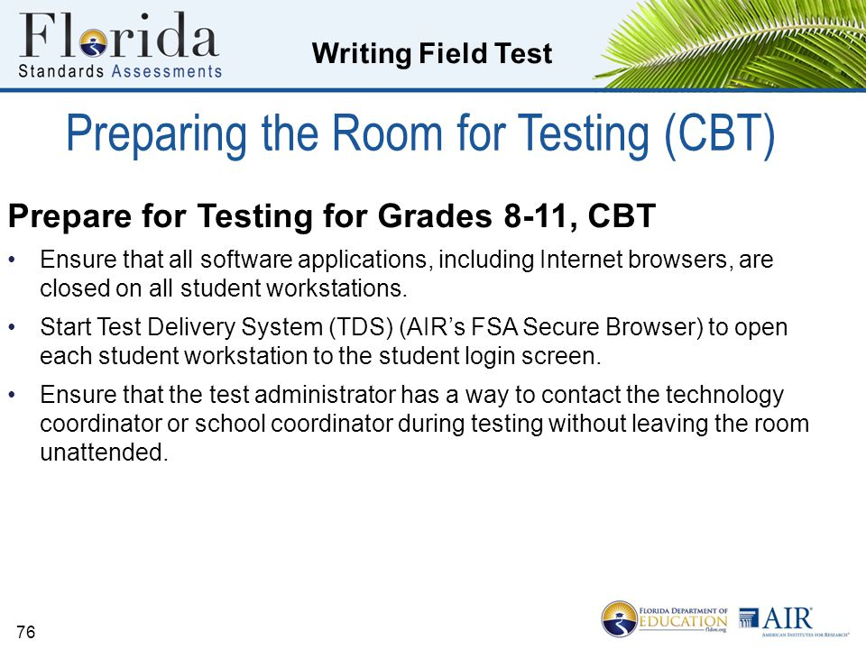 Preparing the Room for Testing (CBT)
