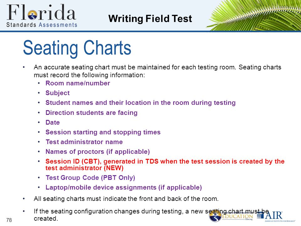 Seating Charts An accurate seating chart must be maintained for each testing room. Seating charts must record the following information: