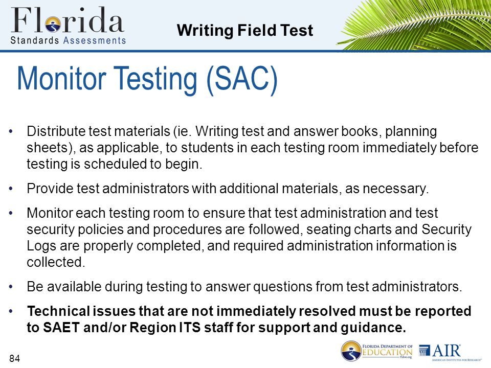 Monitor Testing (SAC)