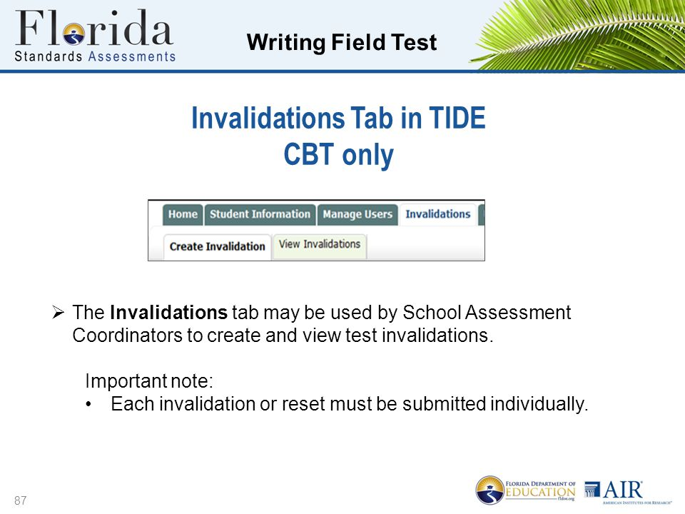 Invalidations Tab in TIDE CBT only