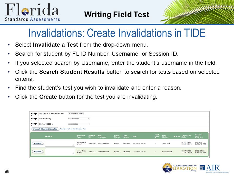 Invalidations: Create Invalidations in TIDE