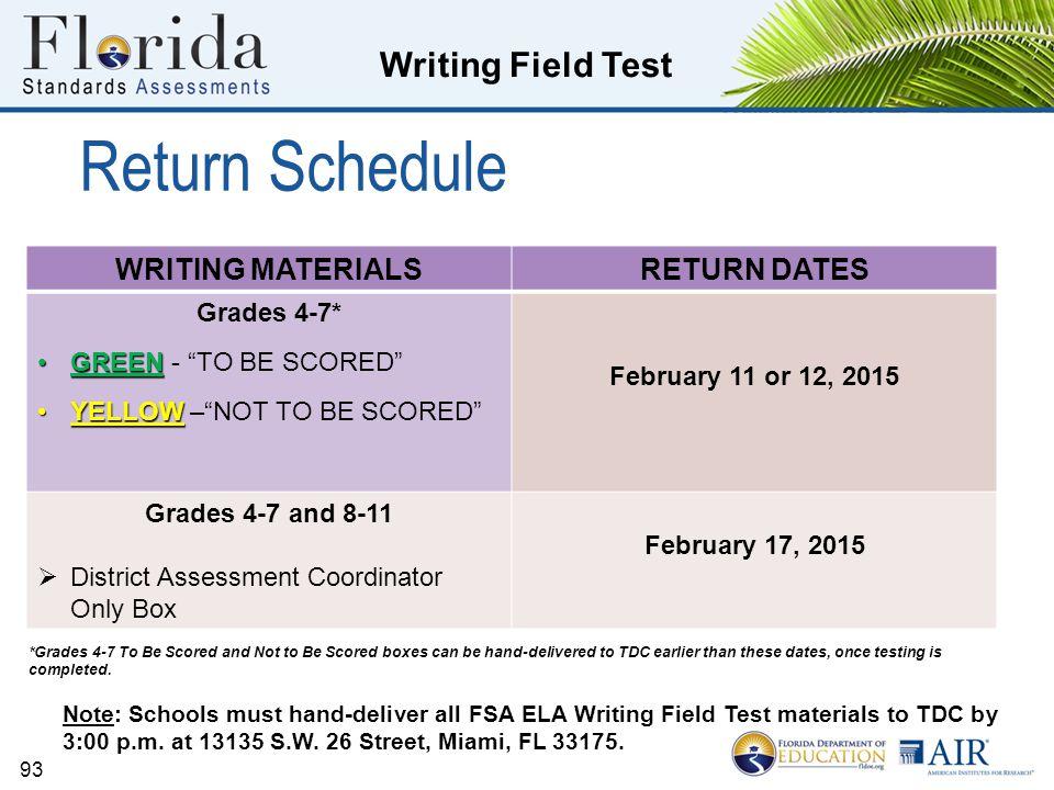 Return Schedule WRITING MATERIALS RETURN DATES Grades 4-7*