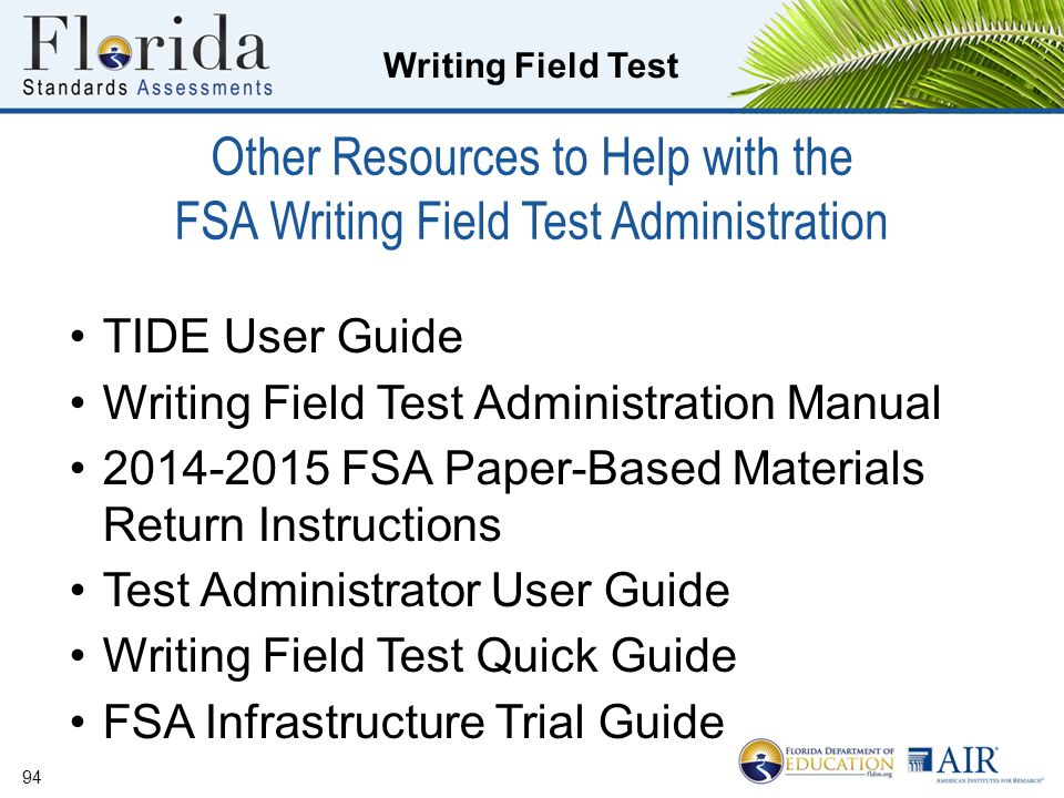 Other Resources to Help with the FSA Writing Field Test Administration