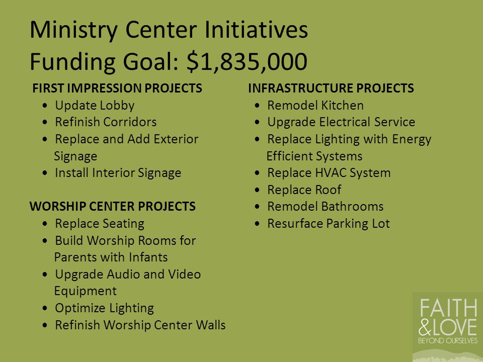 Ministry Center Initiatives Funding Goal: $1,835,000