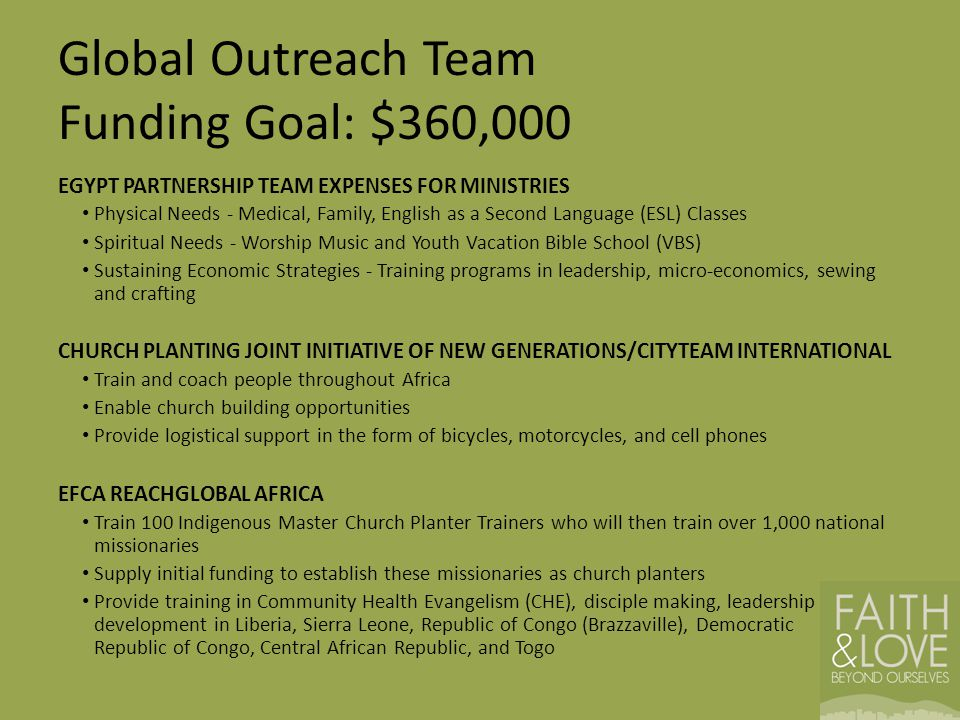 Global Outreach Team Funding Goal: $360,000