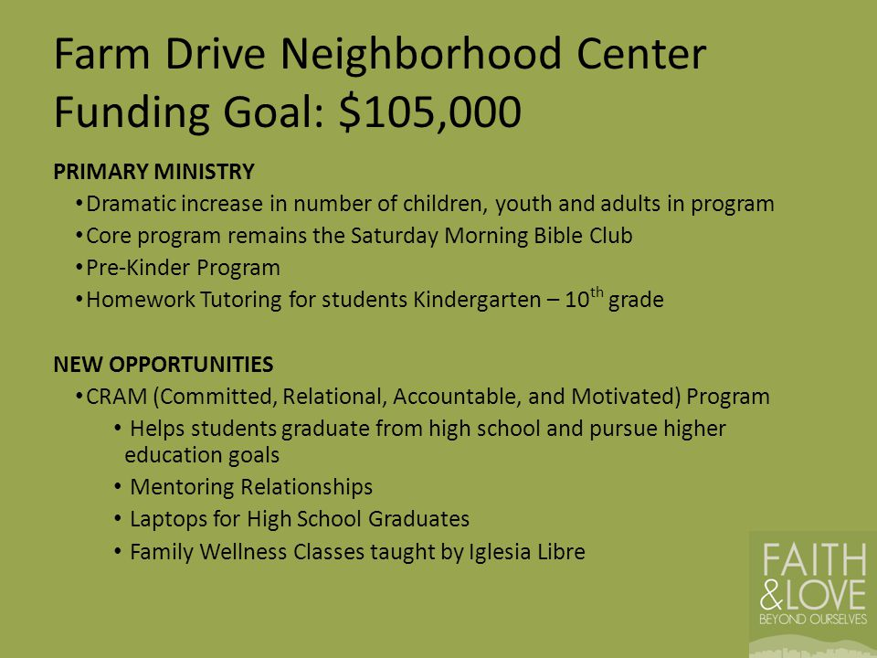 Farm Drive Neighborhood Center Funding Goal: $105,000