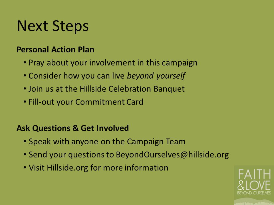 Next Steps Personal Action Plan