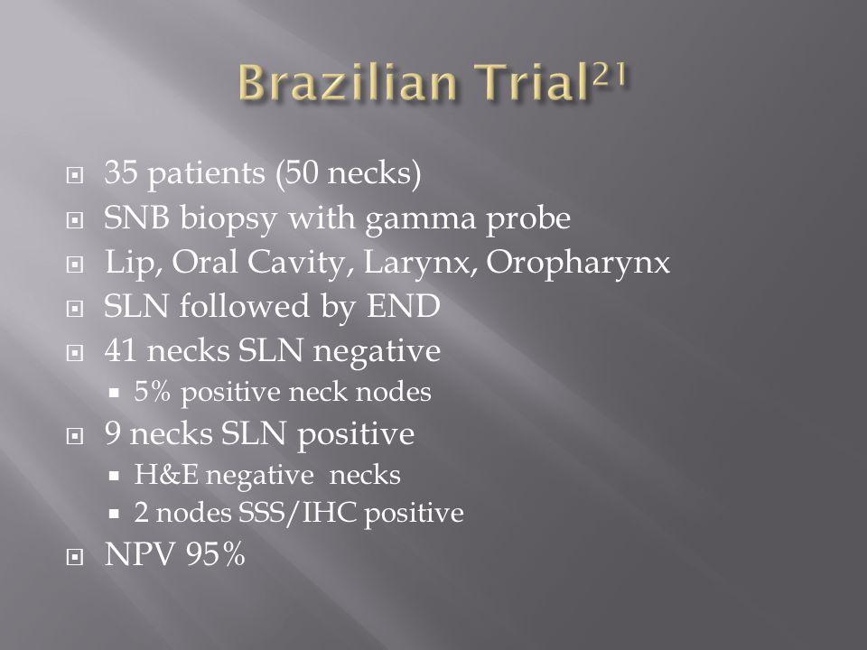 Brazilian Trial21 35 patients (50 necks) SNB biopsy with gamma probe
