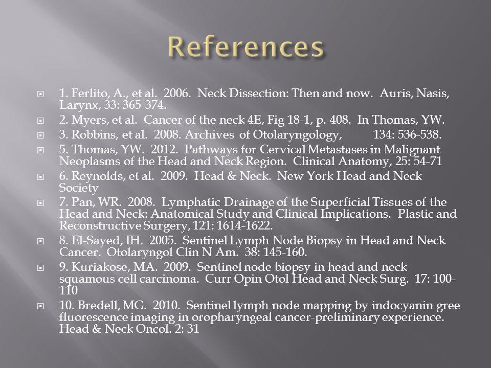 References 1. Ferlito, A., et al. 2006. Neck Dissection: Then and now. Auris, Nasis, Larynx, 33: 365-374.