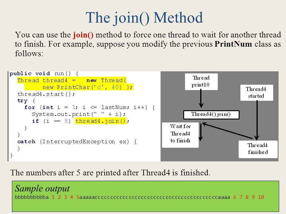 The join() Method Sample output