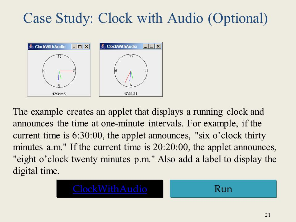 Case Study: Clock with Audio (Optional)
