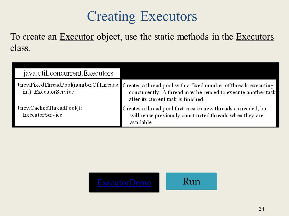 Creating Executors To create an Executor object, use the static methods in the Executors class. ExecutorDemo.