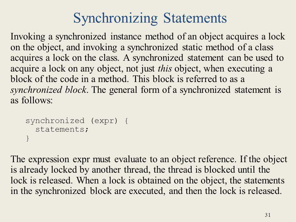 Synchronizing Statements