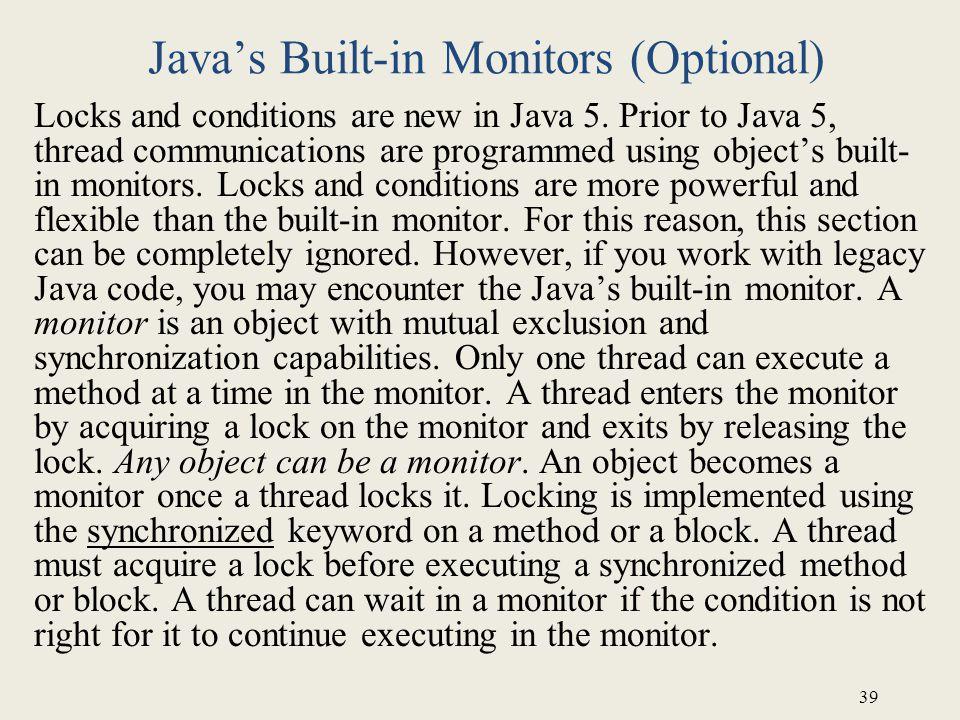 Java's Built-in Monitors (Optional)