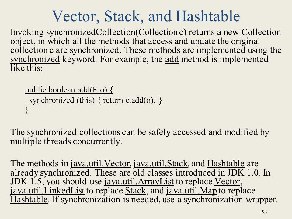 Vector, Stack, and Hashtable