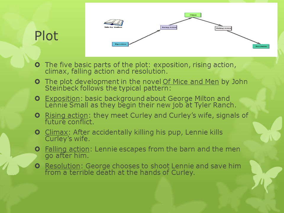 Plot The five basic parts of the plot: exposition, rising action, climax, falling action and resolution.