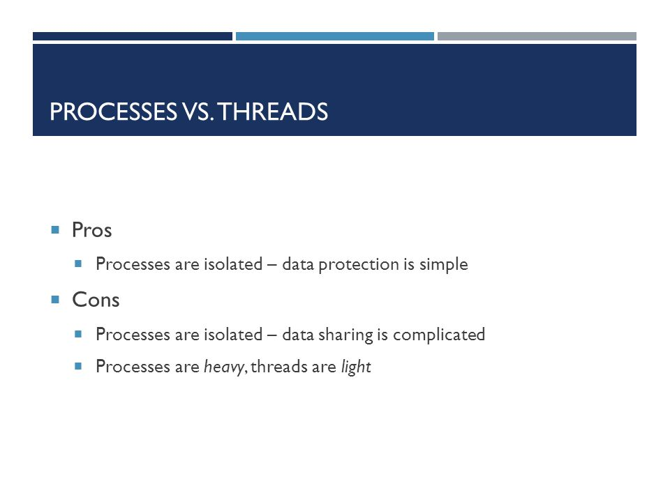 Processes vs. Threads Pros Cons