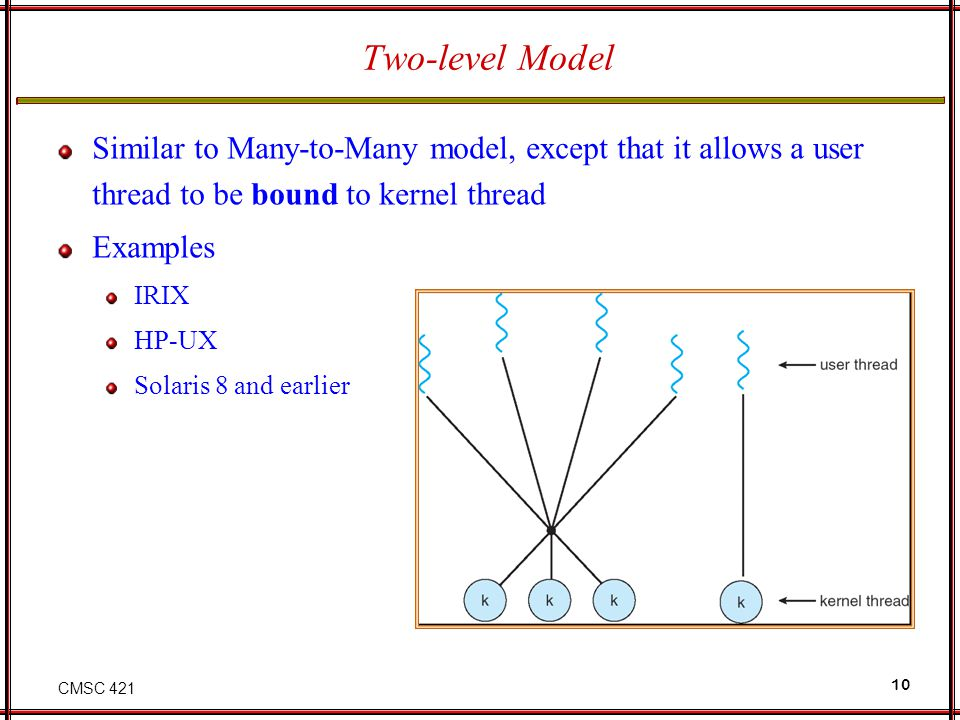 Two-level Model Similar to Many-to-Many model, except that it allows a user thread to be bound to kernel thread.