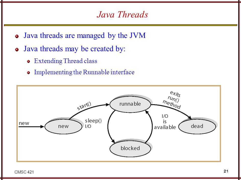Java Threads Java threads are managed by the JVM