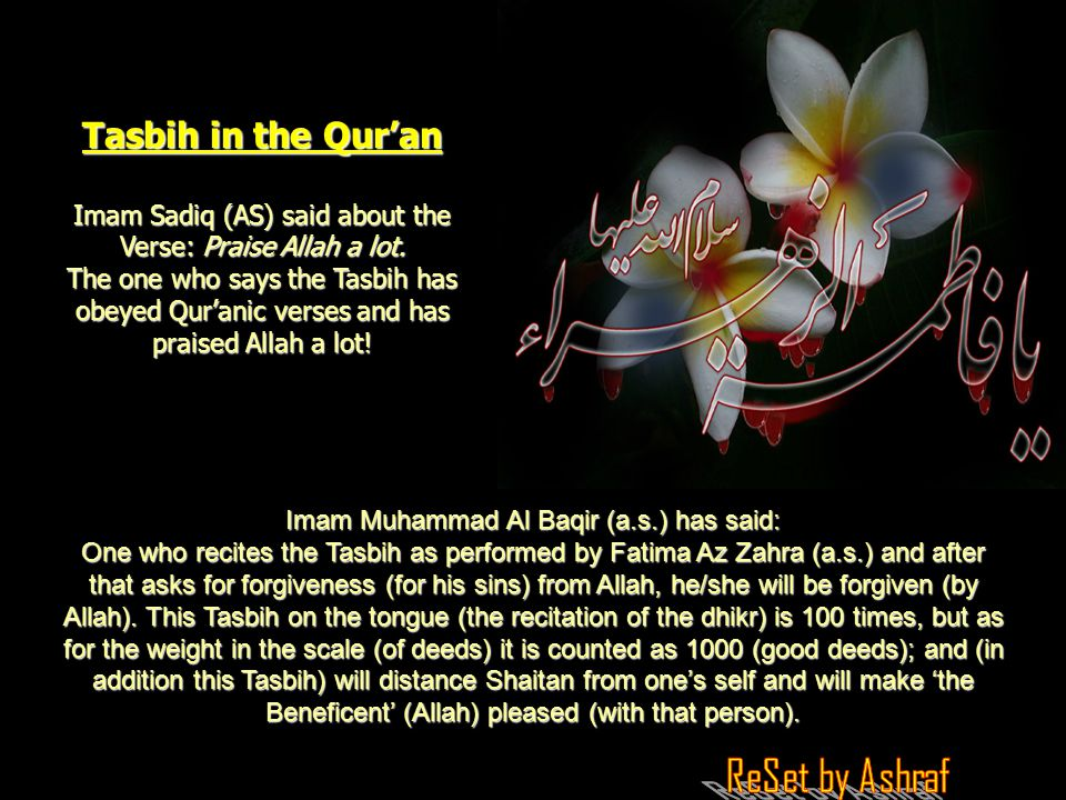 Tasbih in the Qur'an Imam Sadiq (AS) said about the Verse: Praise Allah a lot.
