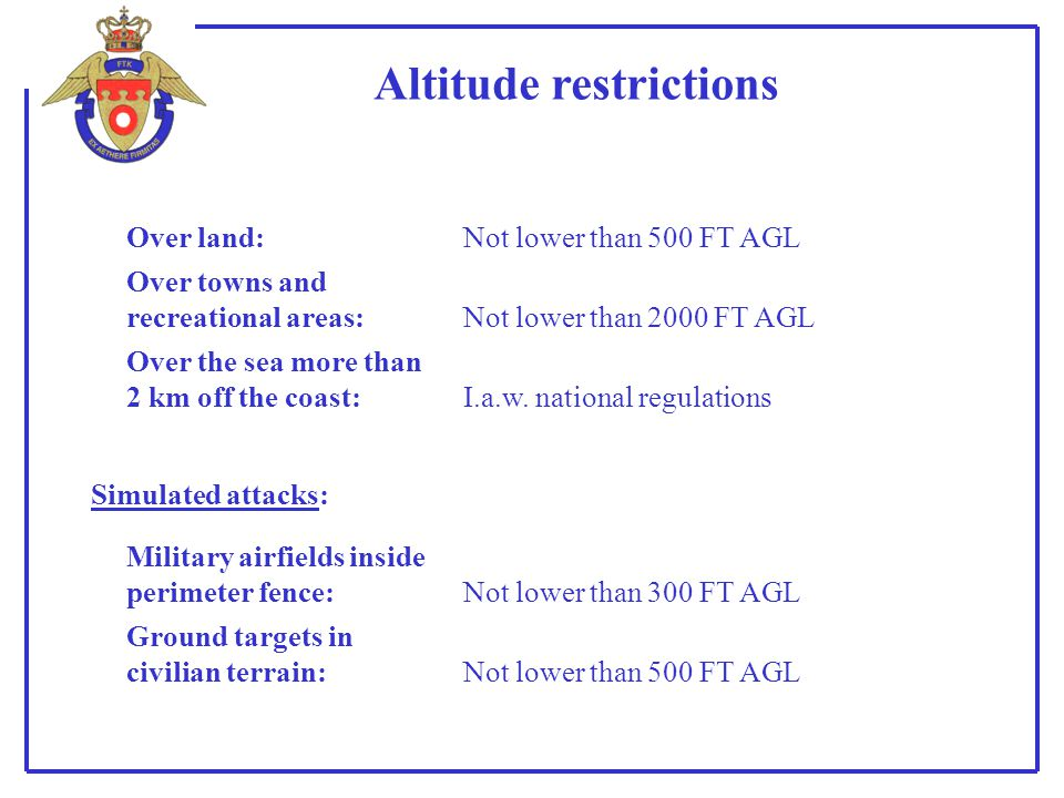 Altitude restrictions