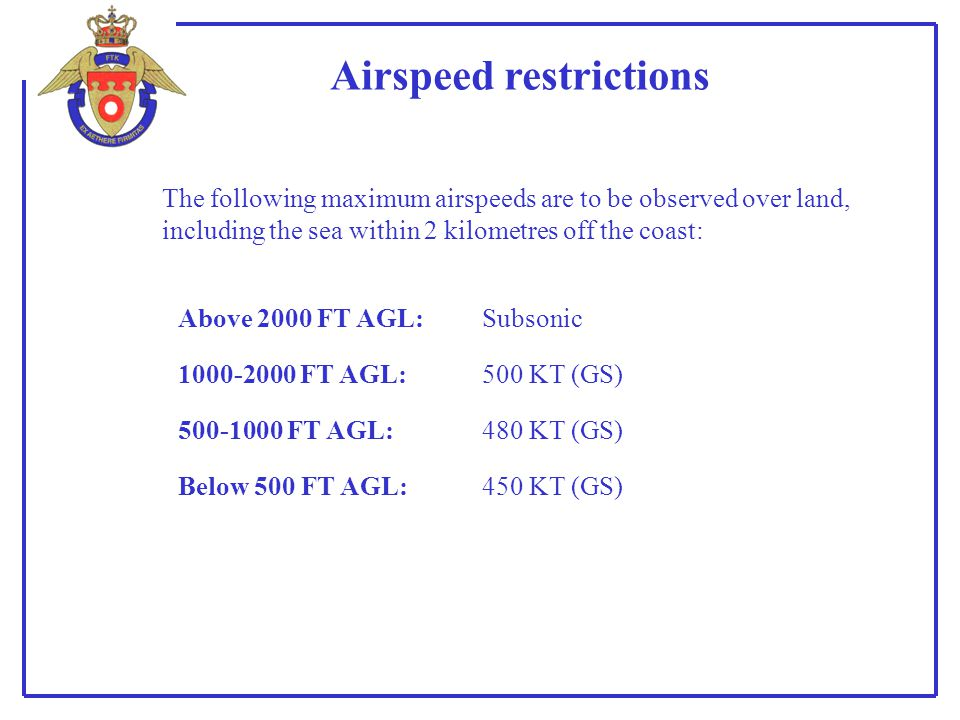 Airspeed restrictions