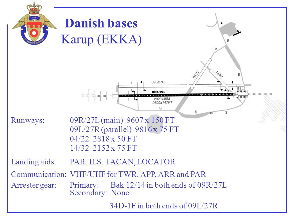 Danish bases Karup (EKKA) Runways: 09R/27L (main) 9607 x 150 FT