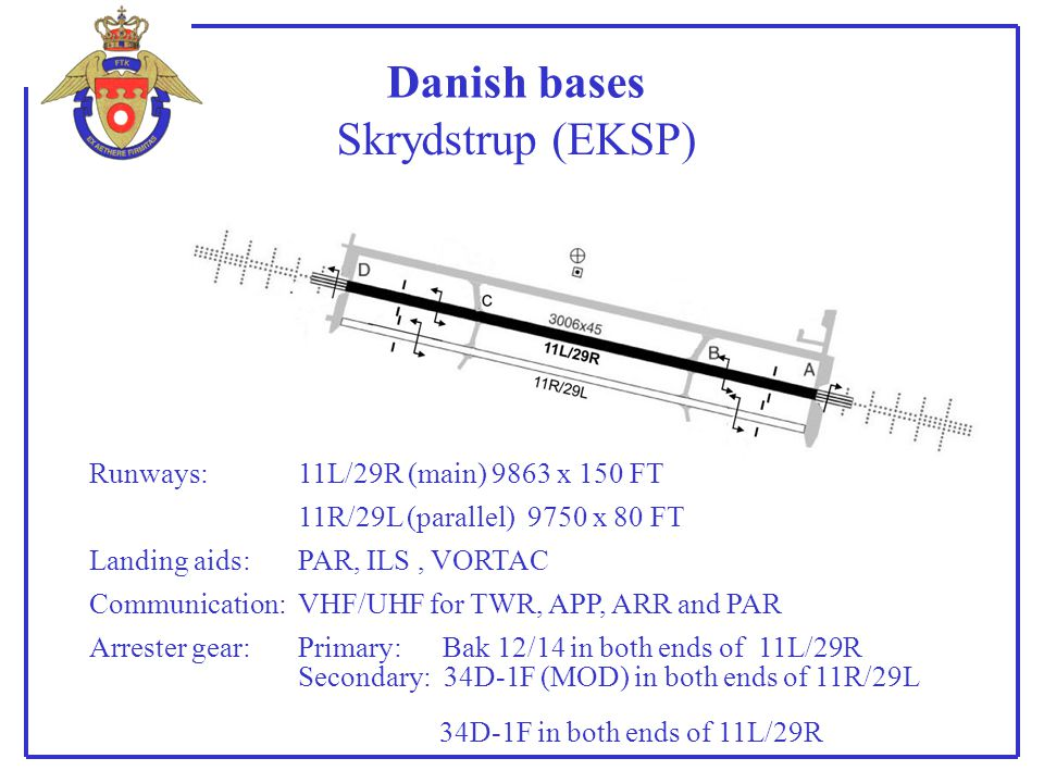 Danish bases Skrydstrup (EKSP) Runways: 11L/29R (main) 9863 x 150 FT