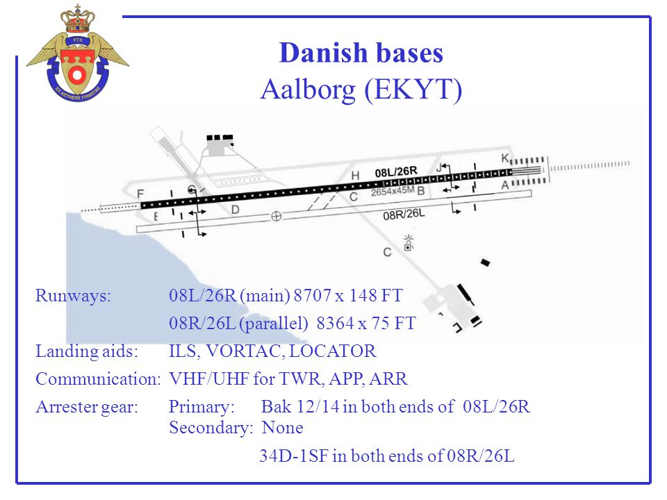 Danish bases Aalborg (EKYT) Runways: 08L/26R (main) 8707 x 148 FT