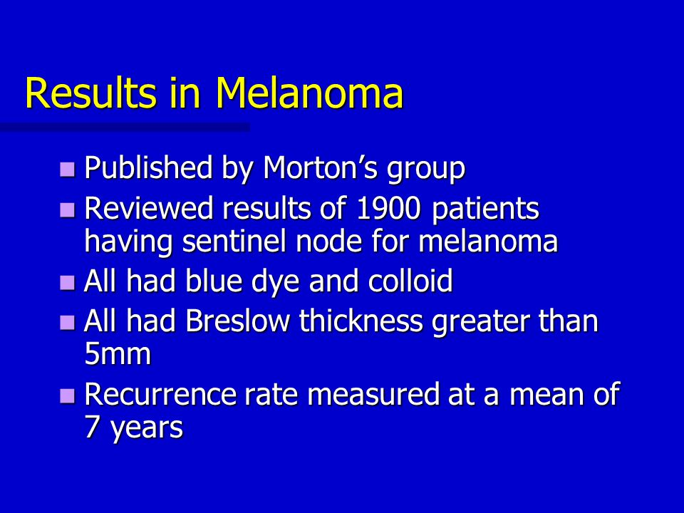 Results in Melanoma Published by Morton's group