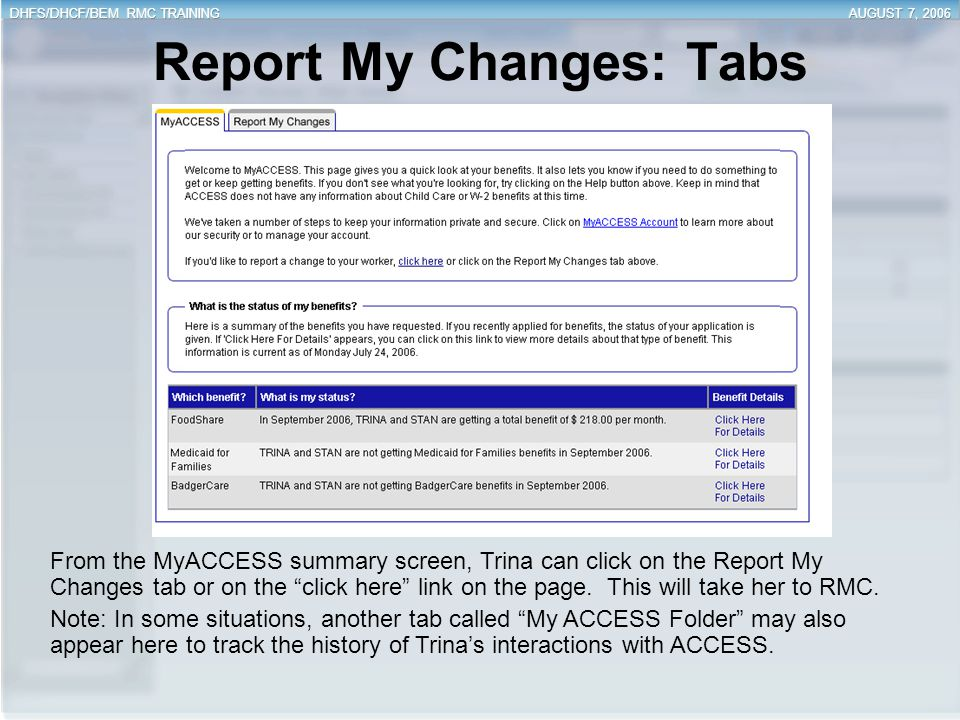 Report My Changes: Tabs