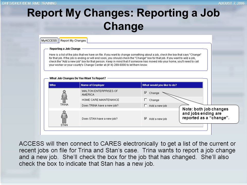 Report My Changes: Reporting a Job Change