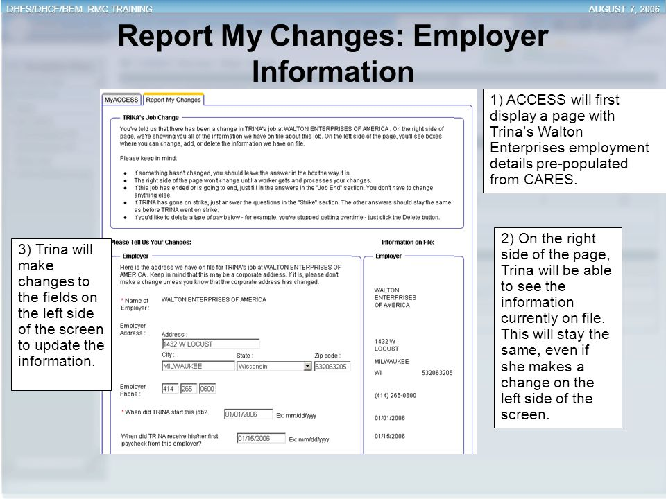Report My Changes: Employer Information