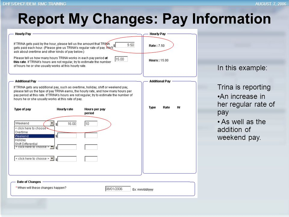 Report My Changes: Pay Information