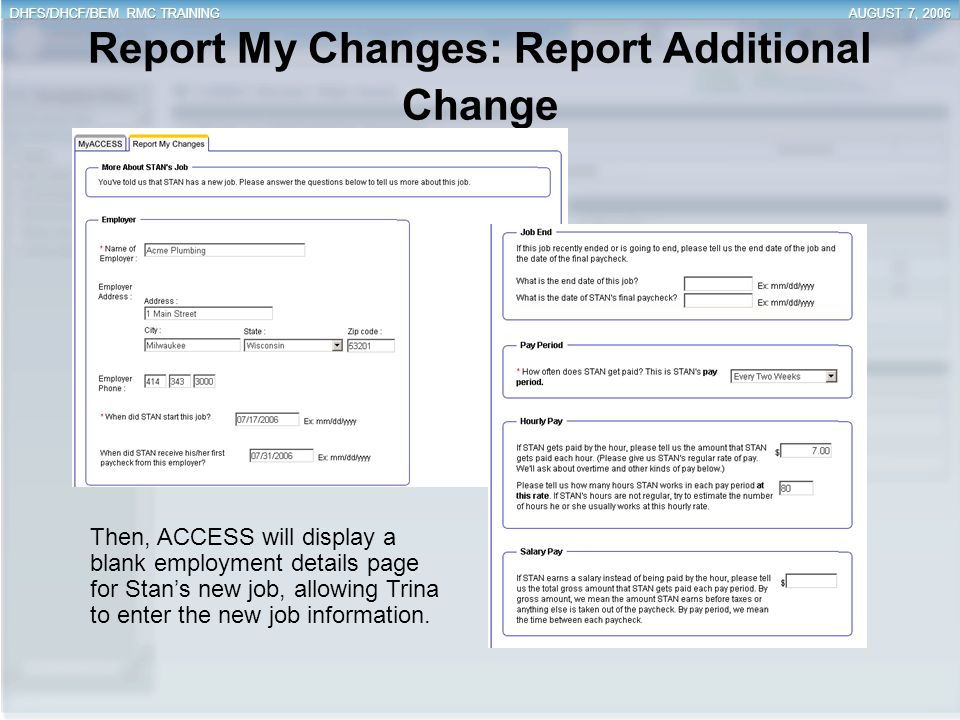 Report My Changes: Report Additional Change