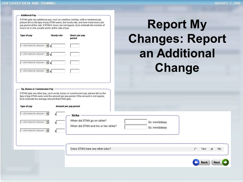 Report My Changes: Report an Additional Change