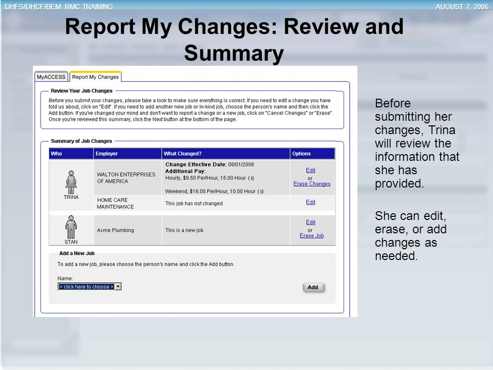Report My Changes: Review and Summary