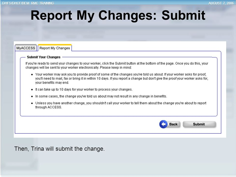 Report My Changes: Submit