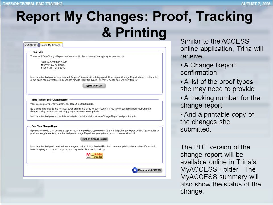 Report My Changes: Proof, Tracking & Printing