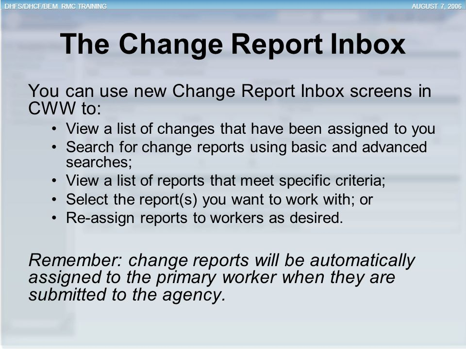 The Change Report Inbox