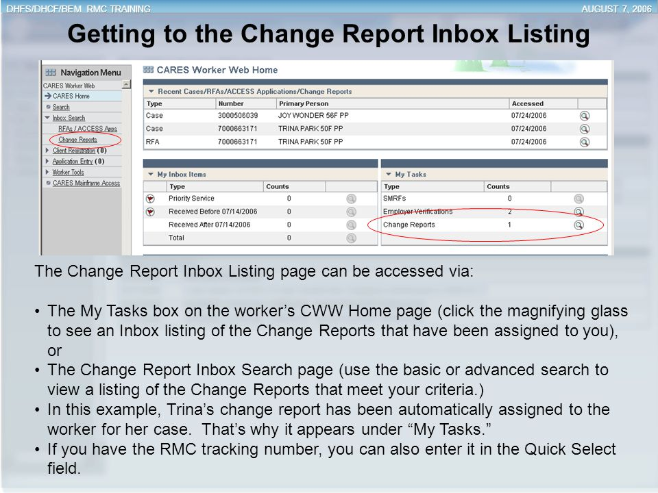 Getting to the Change Report Inbox Listing