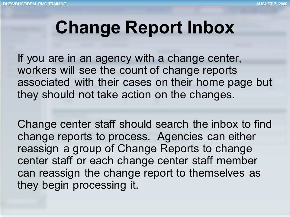 Change Report Inbox