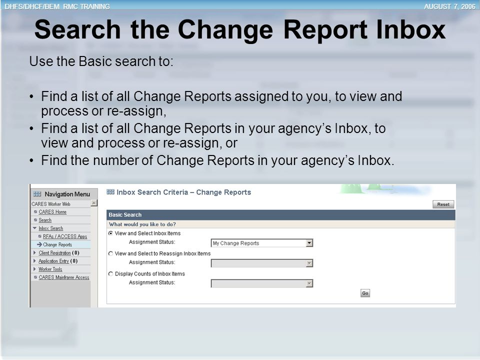 Search the Change Report Inbox