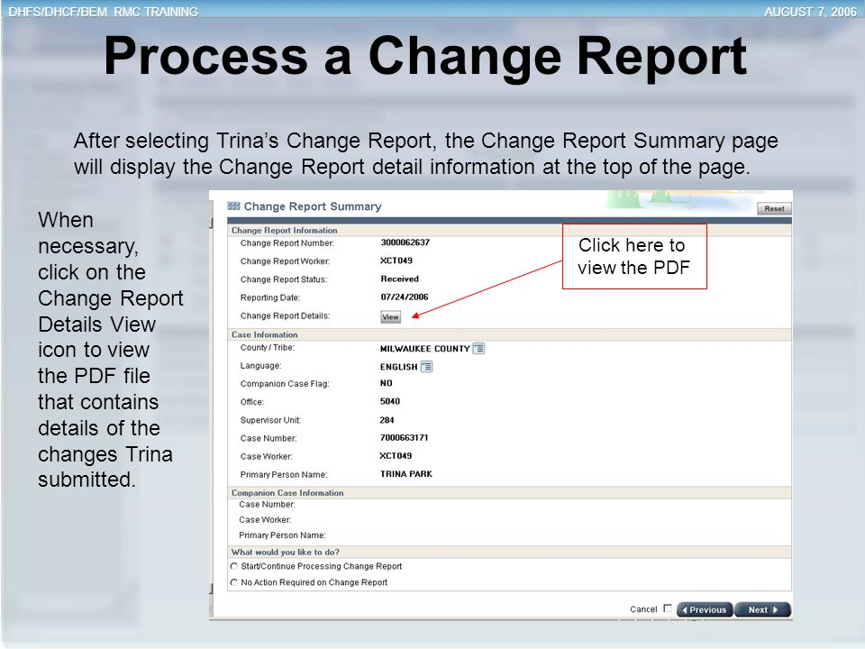 Process a Change Report