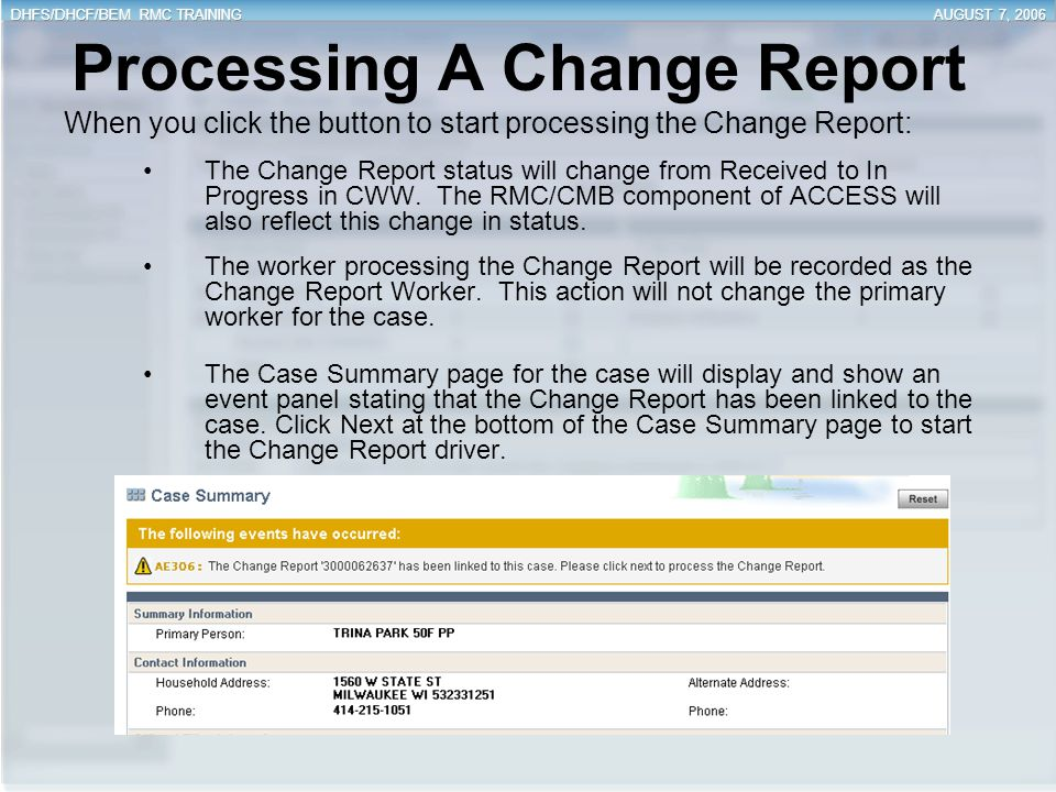 Processing A Change Report