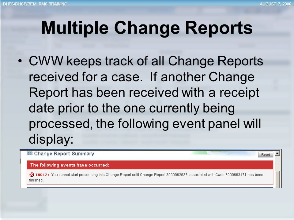 Multiple Change Reports